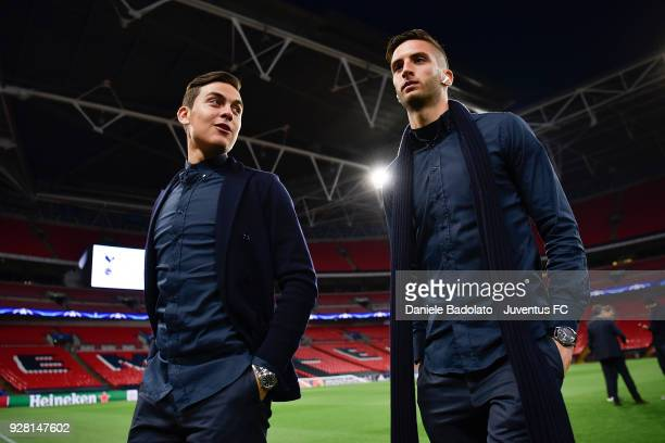Paulo Dybala and Rodrigo Bentancur during Juventus walk around at Wembley Stadium on March 6 2018 in London United Kingdom