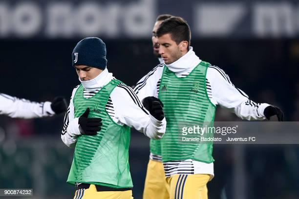 Paulo Dybala and Rodrigo Bentancur during the serie A match between Hellas Verona FC and Juventus at Stadio Marc'Antonio Bentegodi on December 30...
