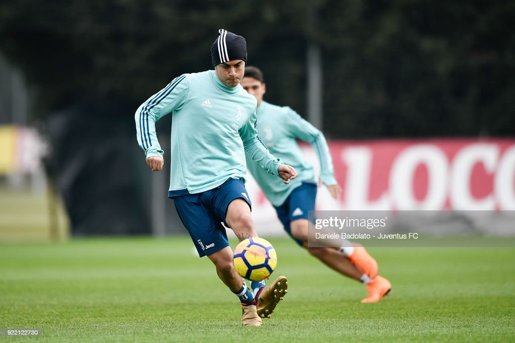 Paulo Dybala at Juventus Center Vinovo on February 21, 2018 in Vinovo, Italy.