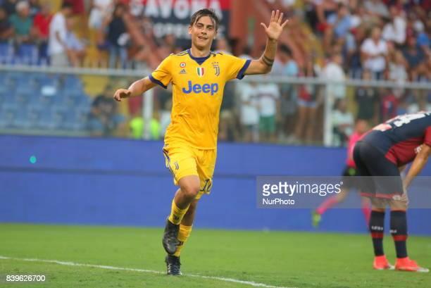 Paulo Dybala celebrates after scoring his third gol during the Serie A football match between Genoa CFC and Juventus FC at Luigi Ferraris stadium on...