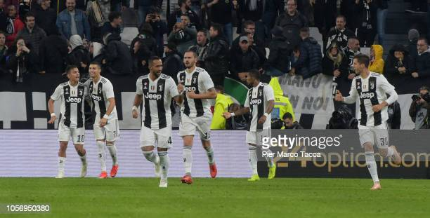 Paulo Dybala celebrates his first goal with Cristiano Ronaldo during the Serie A match between Juventus and Cagliari on November 3 2018 in Turin Italy