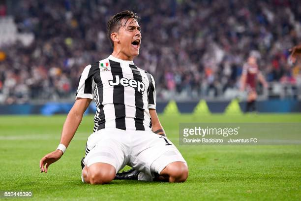Paulo Dybala celebrates his goal during the Serie A match between Juventus and Torino FC on September 23 2017 in Turin Italy