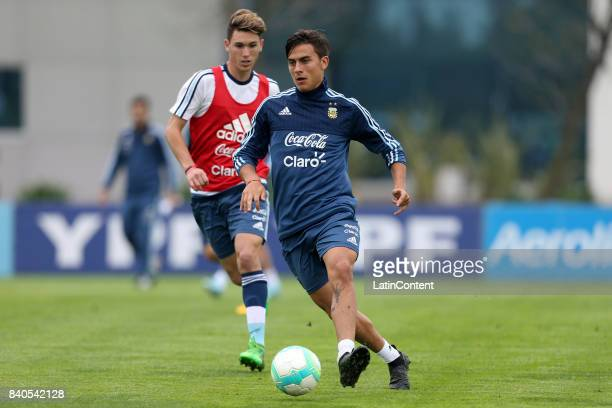 Paulo Dybala controls the ball during a training session at 'Julio Humberto Grondona' training camp on August 29 2017 in Ezeiza Argentina