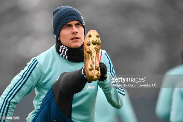 Paulo Dybala during a Juventus training session at Juventus Center Vinovo on March 1 2018 in Vinovo Italy