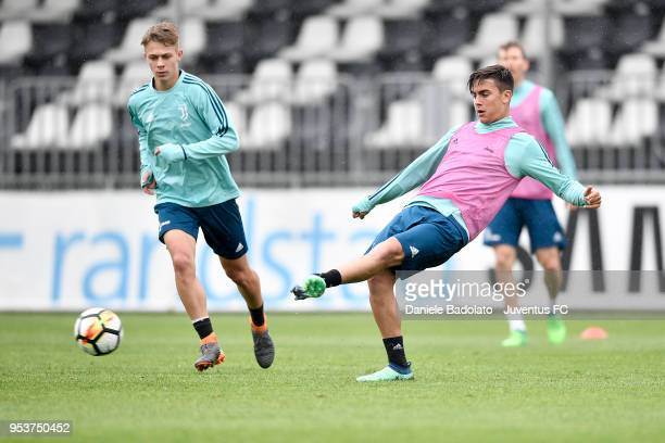 Paulo Dybala during the Juventus training session at Juventus Center Vinovo on May 2 2018 in Vinovo Italy