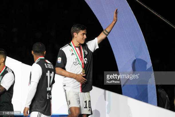 Paulo Dybala during the victory ceremony following the Italian Serie A last football match of the season Juventus versus Atalanta on May 19 2019 at...