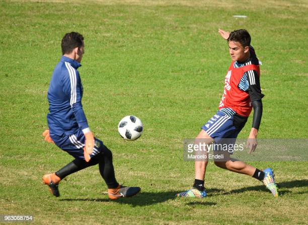Paulo Dybala kicks the ball during a training session open to the public as part of the team preparation for FIFA World Cup Russia 2018 at Tomas...