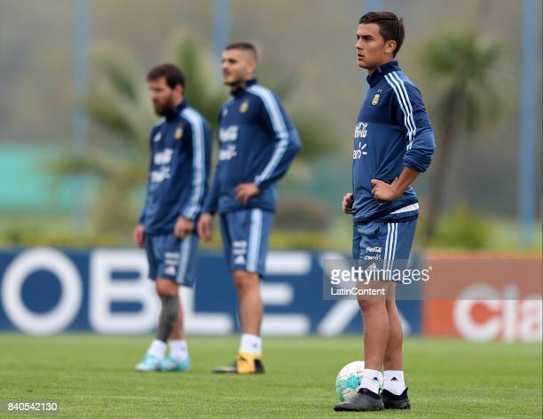 Paulo Dybala looks on during a training session at 'Julio Humberto Grondona' training camp on August 29 2017 in Ezeiza Argentina