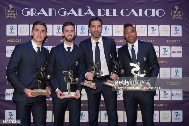 Paulo Dybala Miralem Pjanic Gianluigi Buffon and Alex Sandro attend the Gran Gala Del Calcio 2017 on November 27 2017 in Milan Italy