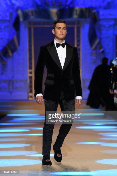 Paulo Dybala Morning News walks the runway at the Dolce Gabbana show during Milan Men's Fashion Week Fall/Winter 2018/19 on January 13 2018 in Milan...