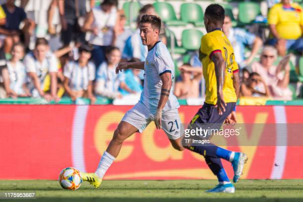 Paulo Dybala of Argentina and Dario Aimar of Ecuador battle for the ball during the UEFA Euro 2020 qualifier between Ecuador and Argentina on October...