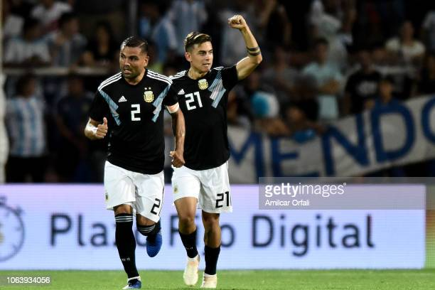 Paulo Dybala of Argentina celebrates after scoring the second goal of his team during a friendly match between Argentina and Mexico at Malvinas...