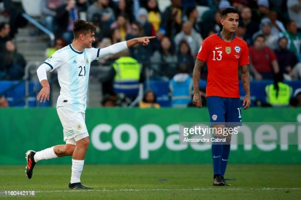 Paulo Dybala of Argentina celebrates after scoring the second goal of his team during the Copa America Brazil 2019 Third Place match between...