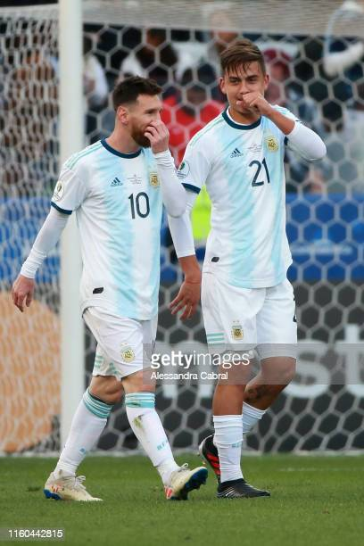 Paulo Dybala of Argentina celebrates after scoring the second goal of his team with teammate Lionel Messi during the Copa America Brazil 2019 Third...