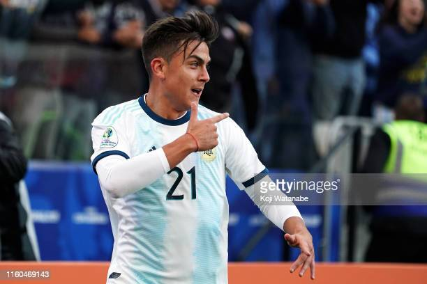 Paulo Dybala of Argentina celebrates after scoring the second goal of his team 20 during the Copa America Brazil 2019 Third Place match between...