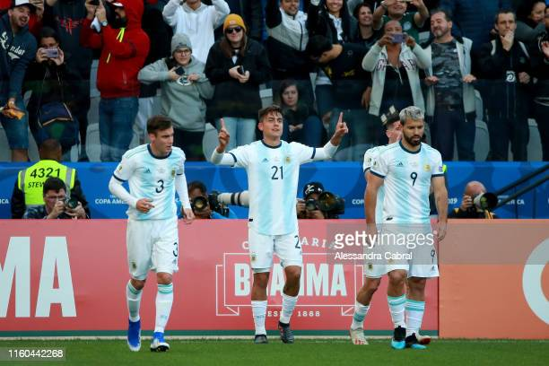 Paulo Dybala of Argentina celebrates after scoring the the second goal of his team during the Copa America Brazil 2019 Third Place match between...