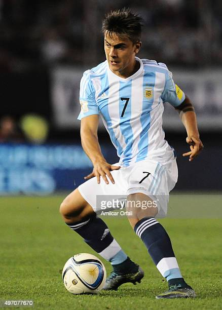 Paulo Dybala of Argentina controls the ball during a match between Argentina and Brazil as part of FIFA 2018 World Cup Qualifiers at Monumental...