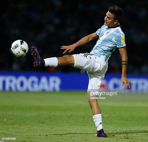 Paulo Dybala of Argentina controls the ball during a match between Argentina and Paraguay as part of FIFA 2018 World Cup Qualifiers at Mario Alberto...