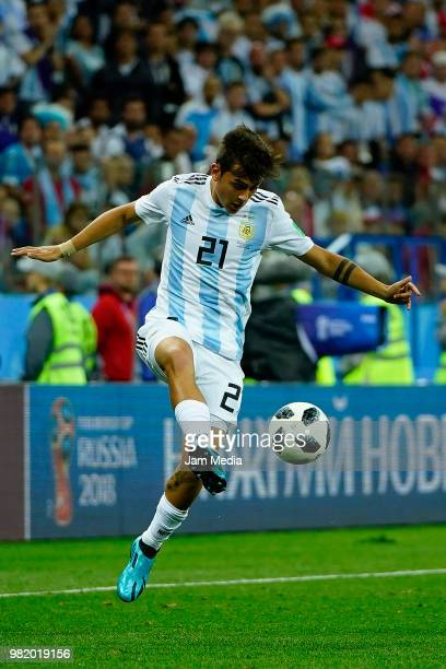 Paulo Dybala of Argentina controls the ball during the 2018 FIFA World Cup Russia group D match between Argentina and Croatia at Nizhniy Novgorod...