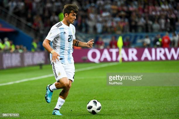 Paulo Dybala of Argentina controls the ball during the FIFA World Cup Group D match between Argentina and Croatia at Nizhny Novogorod Stadium in...