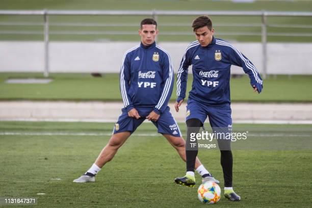 Paulo Dybala of Argentina controls the ball during the training session of Argentina on March 19 2019 in Madrid Spain