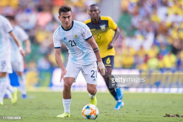 Paulo Dybala of Argentina controls the ball during the UEFA Euro 2020 qualifier between Ecuador and Argentina on October 13, 2019 in Elche, Spain.