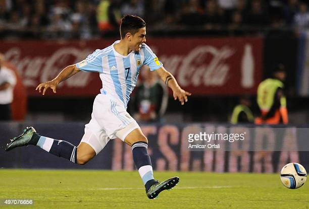 Paulo Dybala of Argentina drives the ball during a match between Argentina and Brazil as part of FIFA 2018 World Cup Qualifiers at Monumental Antonio...