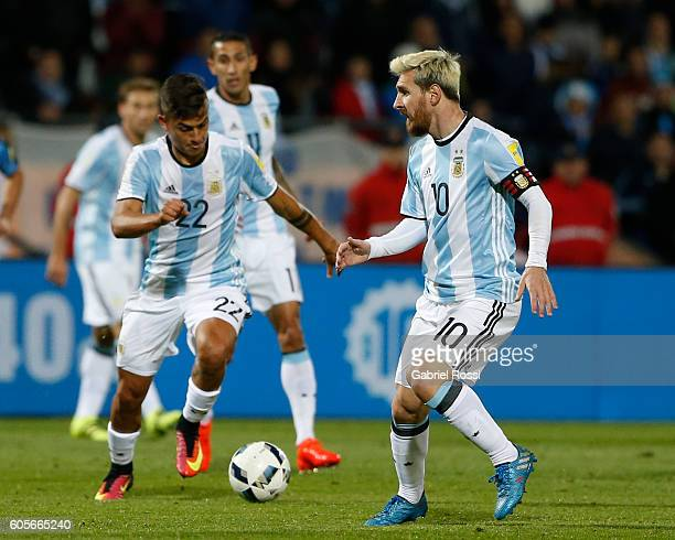 Paulo Dybala of Argentina drives the ball during a match between Argentina and Uruguay as part of FIFA 2018 World Cup Qualifiers at Malvinas...