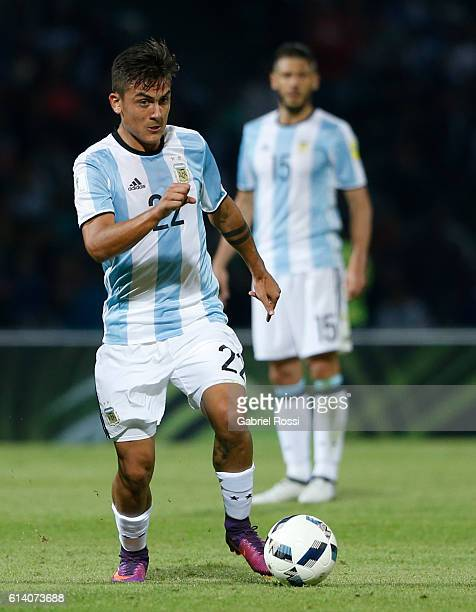 Paulo Dybala of Argentina drives the ball during a match between Argentina and Paraguay as part of FIFA 2018 World Cup Qualifiers at Mario Alberto...