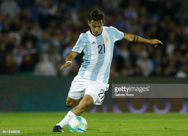 Paulo Dybala of Argentina drives the ball during a match between Uruguay and Argentina as part of FIFA 2018 World Cup Qualifiers at Centenario...