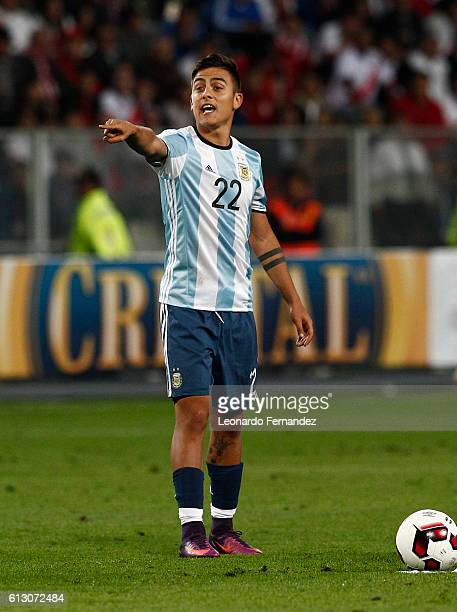 Paulo Dybala of Argentina gestures during a match between Peru and Argentina as part of FIFA 2018 World Cup Qualifiers at Nacional Stadium on October...