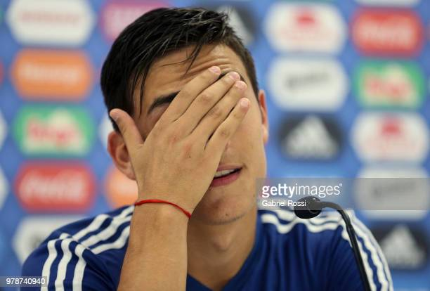 Paulo Dybala of Argentina gestures during a press conference at Stadium of Syroyezhkin sports school on June 19 2018 in Bronnitsy Russia