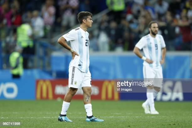 Paulo Dybala of Argentina Gonzalo Higuain of Argentina during the 2018 FIFA World Cup Russia group D match between Argentina and Croatia at the...