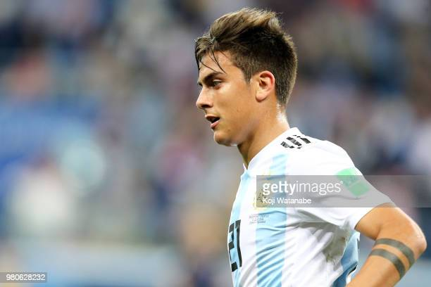 Paulo Dybala of Argentina in action during the 2018 FIFA World Cup Russia group D match between Argentina and Croatia at Nizhny Novgorod Stadium on...