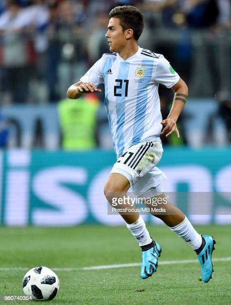 Paulo Dybala of Argentina in action during the 2018 FIFA World Cup Russia group D match between Argentina and Croatia at Nizhniy Novgorod Stadium on...