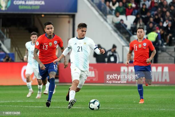 Paulo Dybala of Argentina in action during the Copa America Brazil 2019 Third Place match between Argentina and Chile at Arena Corinthians on July 06...