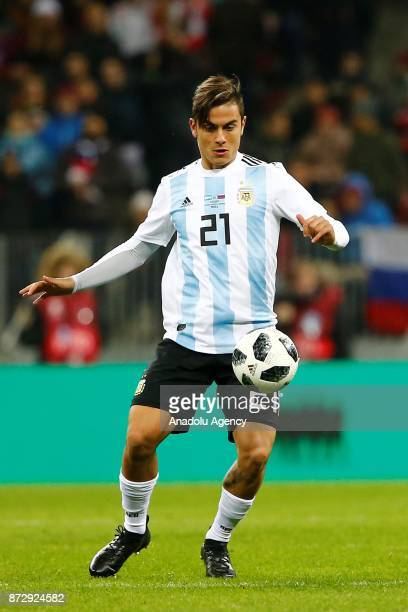 Paulo Dybala of Argentina in action during the international friendly match between Russia and Argentina at BSA OC Luzhniki Stadium in Moscow Russia...