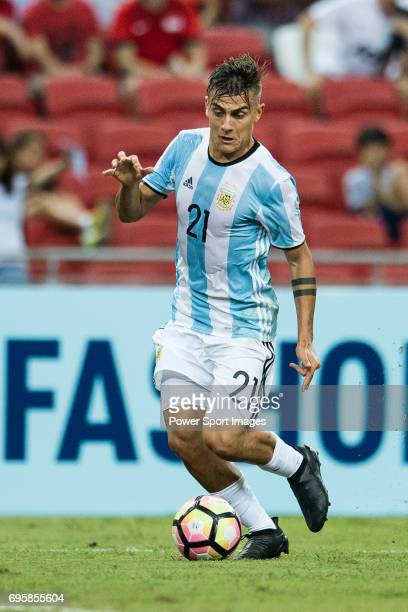 Paulo Dybala of Argentina in action during the International Test match between Argentina and Singapore at National Stadium on June 13 2017 in...