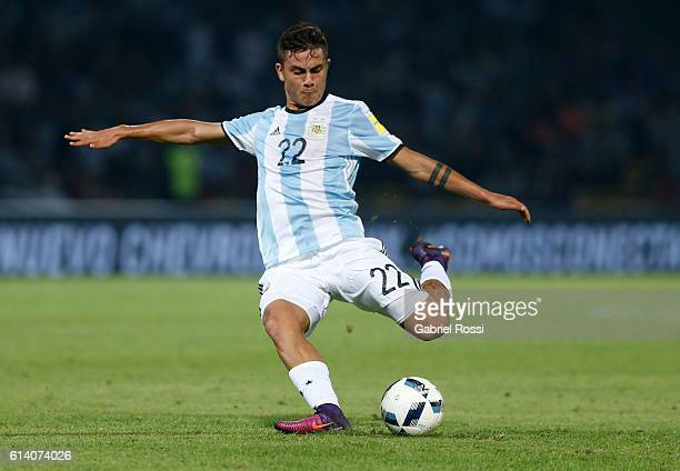 Paulo Dybala of Argentina kicks the ball during a match between Argentina and Paraguay as part of FIFA 2018 World Cup Qualifiers at Mario Alberto...