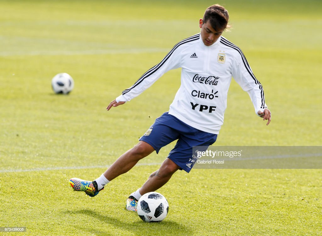 Paulo Dybala of Argentina kicks the ball during an open to public training session at Bronnitsy Training Camp on June 11, 2018 in Bronnitsy, Russia.