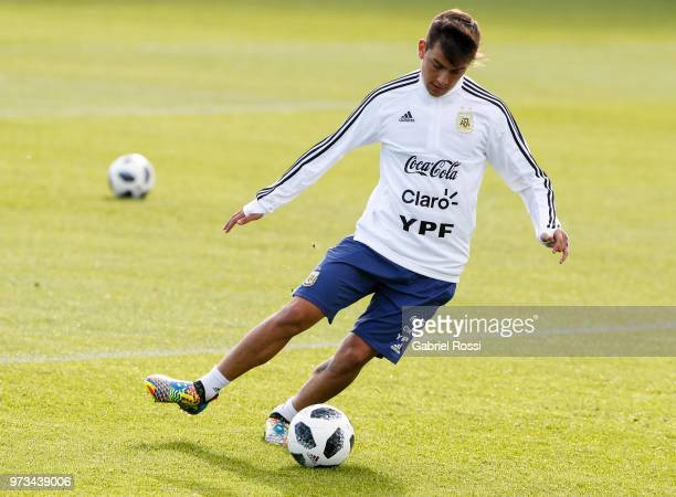 Paulo Dybala of Argentina kicks the ball during an open to public training session at Bronnitsy Training Camp on June 11 2018 in Bronnitsy Russia