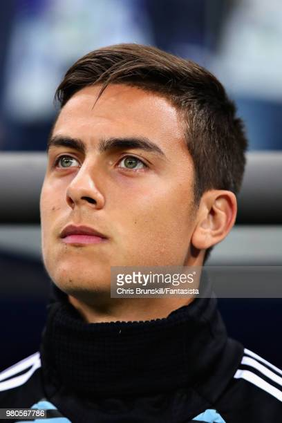 Paulo Dybala of Argentina looks on before the 2018 FIFA World Cup Russia group D match between Argentina and Croatia at Nizhny Novgorod Stadium on...