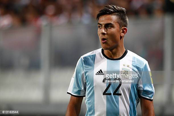 Paulo Dybala of Argentina looks on during a match between Peru and Argentina as part of FIFA 2018 World Cup Qualifiers at Nacional Stadium on October...