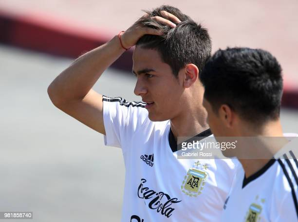 Paulo Dybala of Argentina looks on during a training session at Stadium of Syroyezhkin sports school on June 23 2018 in Bronnitsy Russia