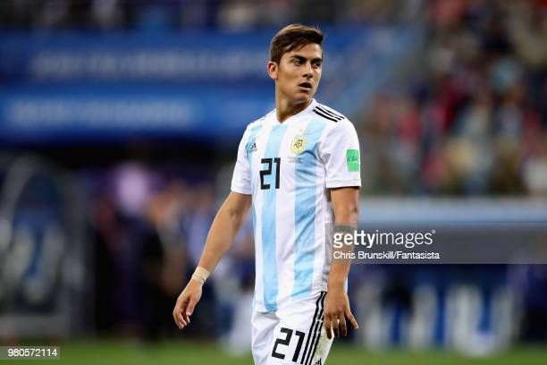 Paulo Dybala of Argentina looks on during the 2018 FIFA World Cup Russia group D match between Argentina and Croatia at Nizhny Novgorod Stadium on...