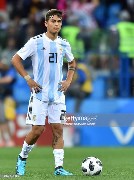 Paulo Dybala of Argentina looks on during the 2018 FIFA World Cup Russia group D match between Argentina and Croatia at Nizhniy Novgorod Stadium on...