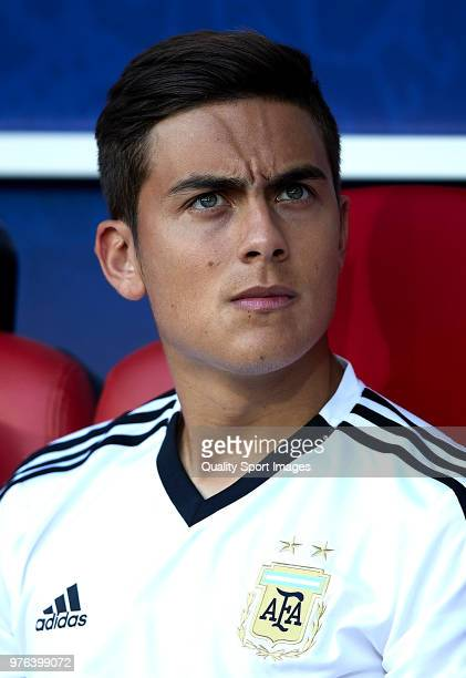 Paulo Dybala of Argentina looks on prior to the 2018 FIFA World Cup Russia group D match between Argentina and Iceland at Spartak Stadium on June 16...