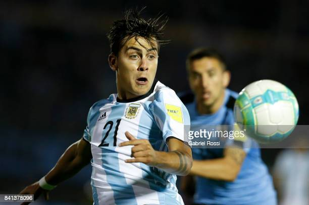 Paulo Dybala of Argentina looks the ball during a match between Uruguay and Argentina as part of FIFA 2018 World Cup Qualifiers at Centenario Stadium...