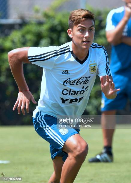 Paulo Dybala of Argentina makes a run during a training session in Carson California on September 6 ahead of the international soccer friendly...