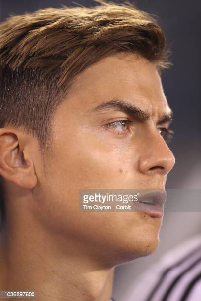 Paulo Dybala of Argentina on the bench before the start of the Argentina Vs Colombia International Friendly football match at MetLife Stadium on...